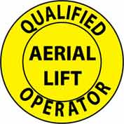 "NMC HH84 Hard Hat Emblem, Qualified Aerial Lift Operator, 2"" Dia., Yellow/Black"