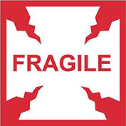 "NMC IHL2AL International Shipping Labels, Fragile, 4"" X 4"", White/Red, 500 Per Roll"