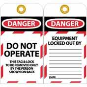 "NMC LOTAG10-25 Tags, Do Not Operate, 6"" X 3"", White/Red/Black, 25/Pk"