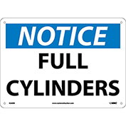 "NMC N26RB OSHA Sign, Notice Full Cylinders, 10"" X 14"", White/Blue/Black"