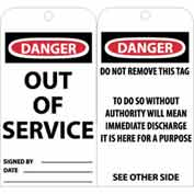 "NMC RPT146 Tags, Out Of Service, 6"" X 3"", White/Red/Black, 25/Pk"