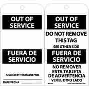 "NMC RPT153 Tags, Out Of Service, Bilingual, 6"" X 3"", White/Black, 25/Pk"