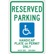 "NMC TMS305G Traffic Sign, Reserved Parking Arizona, 18"" X 12"", White"
