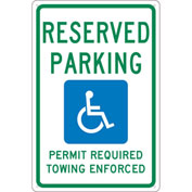 "NMC TMS306G Traffic Sign, Reserved Parking Arkansas, 18"" X 12"", White"