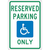 "NMC TMS318G Traffic Sign, Reserved Parking Only Michigan Sign, 18"" X 12"", White"