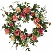 Nearly Natural 20'' Rose Wreath