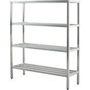 "Aluminum Heavy Duty 4-Shelf Rack, 24""Wx72""Hx72""L"
