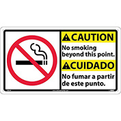 Bilingual Plastic Sign - Caution No Smoking Beyond This Point