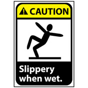 Caution Sign 10x7 Rigid Plastic - Slippery When Wet