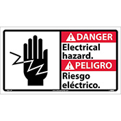 Bilingual Vinyl Sign - Danger Electrical Hazard
