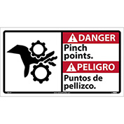 Bilingual Vinyl Sign - Danger Pinch Points