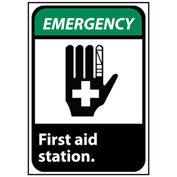 Emergency Sign 14x10 Rigid Plastic - First Aid Station
