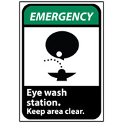 Emergency Sign 14x10 Rigid Plastic - Eye Wash Station Keep Area Clear