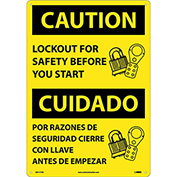 Bilingual Plastic Sign - Caution Lockout For Safety Before You Start