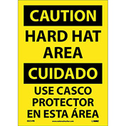 Bilingual Vinyl Sign - Caution Hard Hat Area