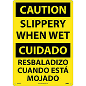 Bilingual Plastic Sign - Caution Slippery When Wet