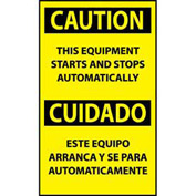Bilingual Machine Labels - Caution This Equipment Starts And Stops Automatically