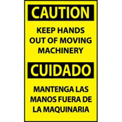 Bilingual Machine Labels - Caution Keep Hands Out Of Moving Machinery