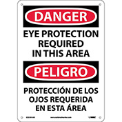 Bilingual Aluminum Sign - Danger Eye Protection Required In This Area