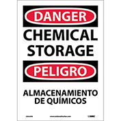 Bilingual Vinyl Sign - Danger Chemical Storage