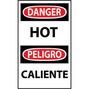Bilingual Machine Labels - Danger Hot, 5-Pack