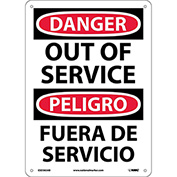 Bilingual Aluminum Sign - Danger Out Of Service