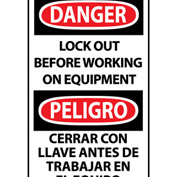 Bilingual Machine Labels - Danger Lockout Before Working On Equipment