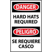 Bilingual Machine Labels - Danger Hard Hats Required