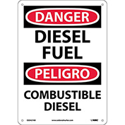 Bilingual Aluminum Sign - Danger Diesel Fuel