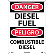 Bilingual Plastic Sign - Danger Diesel Fuel