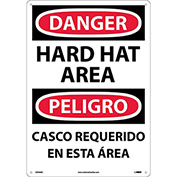 Bilingual Plastic Sign - Danger Hard Hat Area