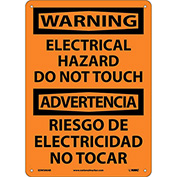 Bilingual Aluminum Sign - Warning Electrical Hazard Do Not Touch