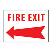 Fire Safety Sign - Fire Exit with Left Arrow - Aluminum