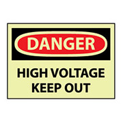 Glow Danger Rigid Plastic - High Voltage Keep Out