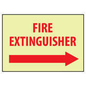 Glow Sign Rigid Plastic - Fire Extinguisher Right Arrow