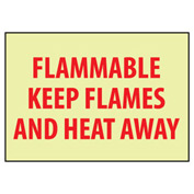 Glow Sign Rigid Plastic - Flammable Keep Flames Away