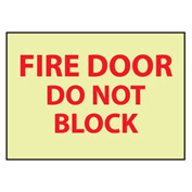 Glow Sign Rigid Plastic - Fire Door Do Not Block