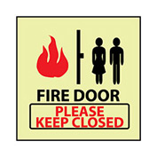 Glow Sign Rigid Plastic - Fire Door Please Keep Closed