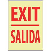 Glow Sign Rigid Plastic - Exit/Salida Bilingual