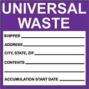 Hazardous Waste Paper Labels - Universal Waste