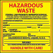 Hazardous Waste Vinyl Labels - For Liquids