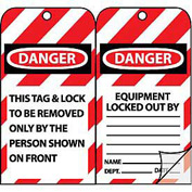 Jumbo Self-Laminating Lockout Tags - Danger Equipment Locked Out By
