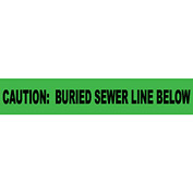 "Non-Detectable Underground Warning Tape - Caution Buried Sewer Line Below - 6""W"
