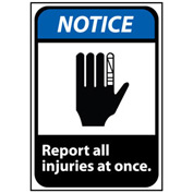 Notice Sign 10x7 Vinyl - Report All Injuries At Once