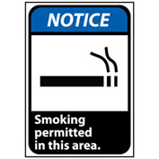 Notice Sign 10x7 Rigid Plastic - Smoking Permitted In This Area