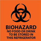 Graphic Safety Labels - Biohazard No Food Or Drink To Be Stored
