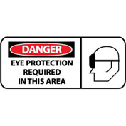 Pictorial OSHA Sign - Vinyl - Danger Eye Protection Required In This Area