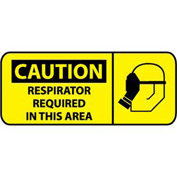 Pictorial OSHA Sign - Plastic - Caution Respirator Required In This Area
