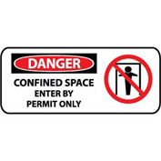 Pictorial OSHA Sign - Vinyl - Danger Confined Space Enter By Permit Only
