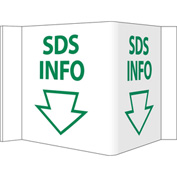 "Facility Visi Sign - SDS Info, 8-3/4"" x 5-3/4"", Green on White"